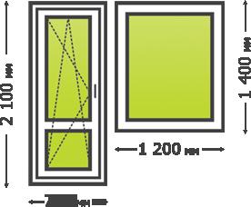 Цена пластикового окна с дверью (балконной)