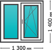 Цена пластикового окна двухсекционного 1300x1400